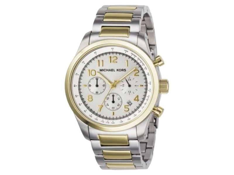 Michael Kors MK8144 Silver Dial Two Tone Stainless Chronograph Women's Watch