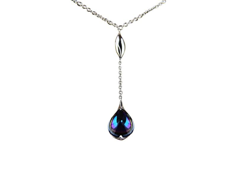 Baccarat Jewelry Fleurs De Psydelic Sterling Silver Blue Scarabee Necklace