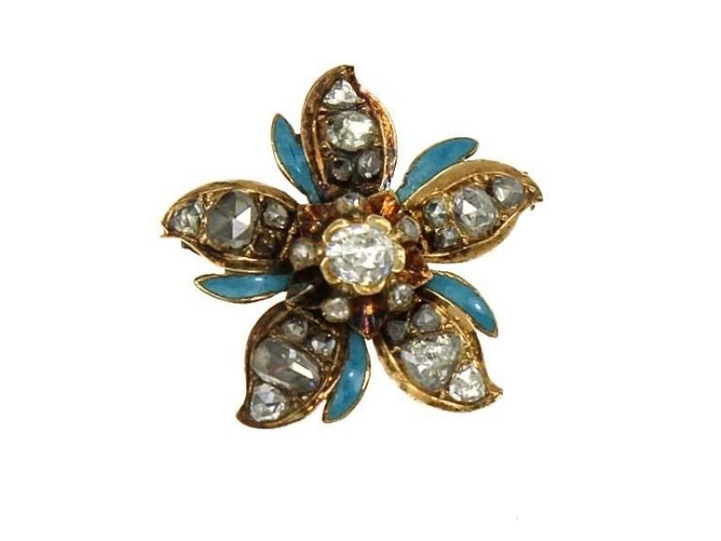 14K Yellow Gold With Diamonds & Enamel Flower Pin Brooch
