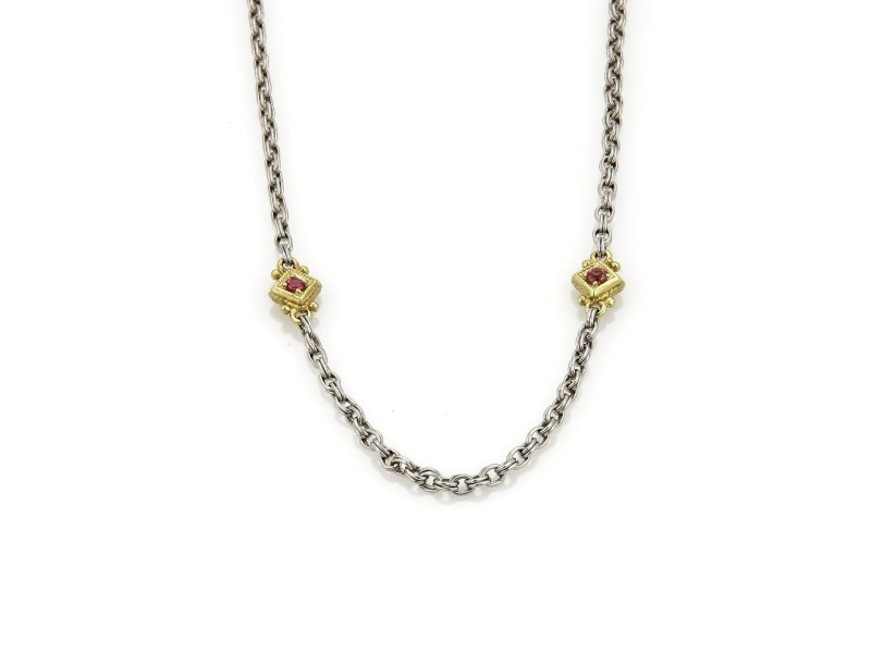 Judith Ripka 18K Yellow Gold & Sterling Silver 0.20 Ct Pink Tourmaline Necklace