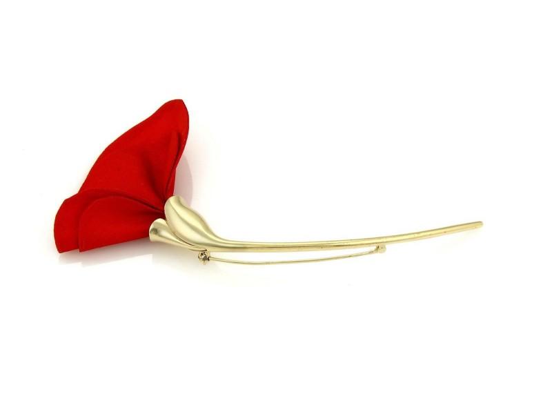 Tiffany & Co. Peretti Amapola 18K Yellow Gold & Red Silk Poppy Floral Brooch