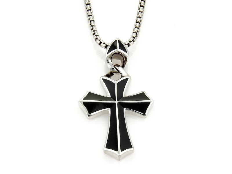 Stephen Webster Rayman 925 Sterling Silver & Onyx Cross Pendant Box Chain Necklace