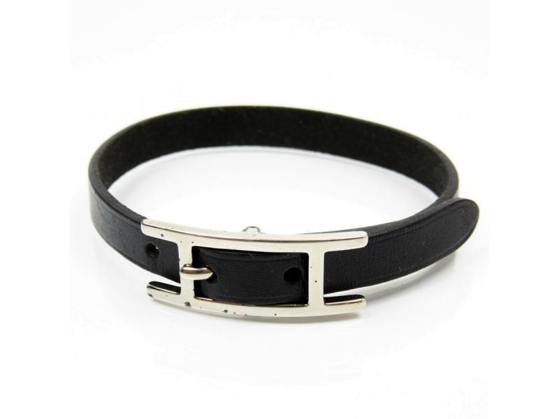 Hermes Silver Tone Metal Black Leather Bracelet