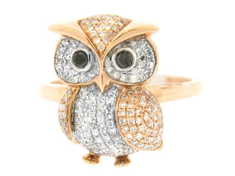 14K ROSE GOLD DIAMOND OWL RING