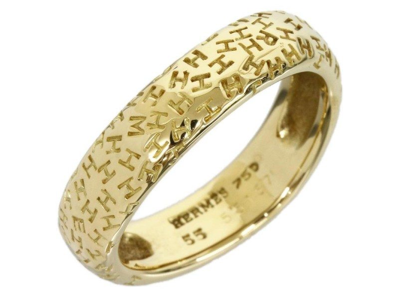 Hermes 18K Yellow Gold Graffiti H Band Ring Sz 7.25