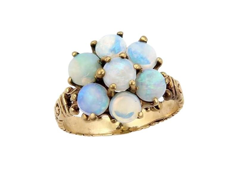 Victorian 10K Yellow Gold Australian Fairy Opal Flower Ring