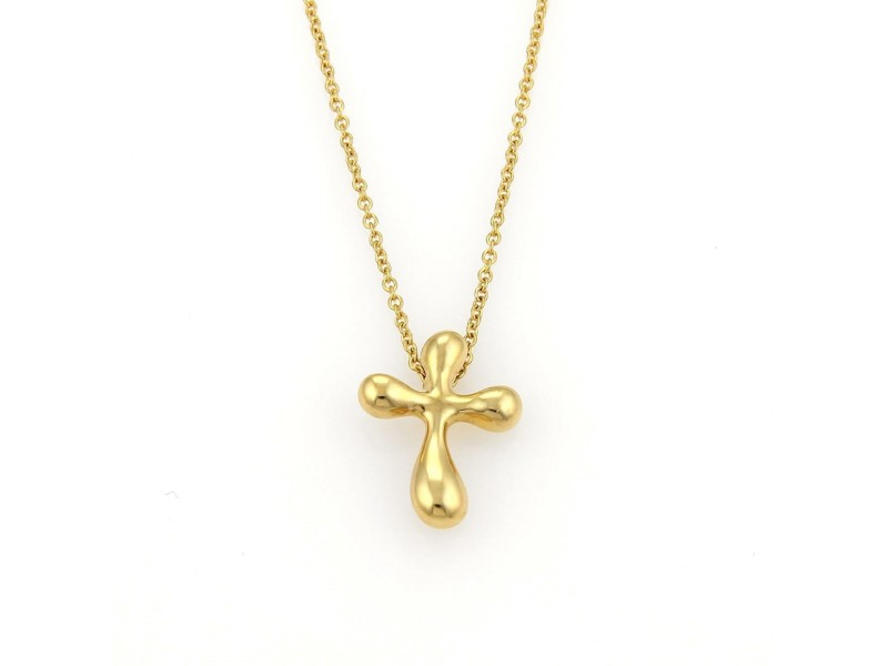 Tiffany & Co. Elsa Peretti 18K Yellow Gold Cross Pendant Necklace