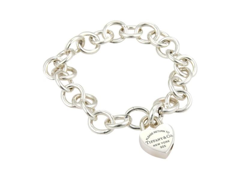 Tiffany & Co. Enamel Please Return To Tiffany Heart Lock Charm Sterling Bracelet