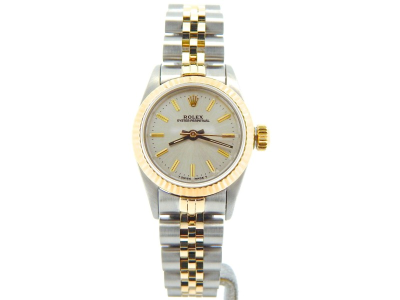 Rolex Oyster Perpetual 67193 2Tone 18K Gold/Stainless Steel Silver Women's Watch