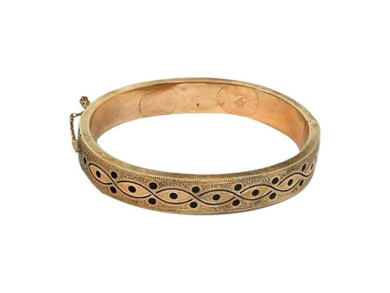 14K Yellow Gold 2 Sided Enamel Bangle Bracelet