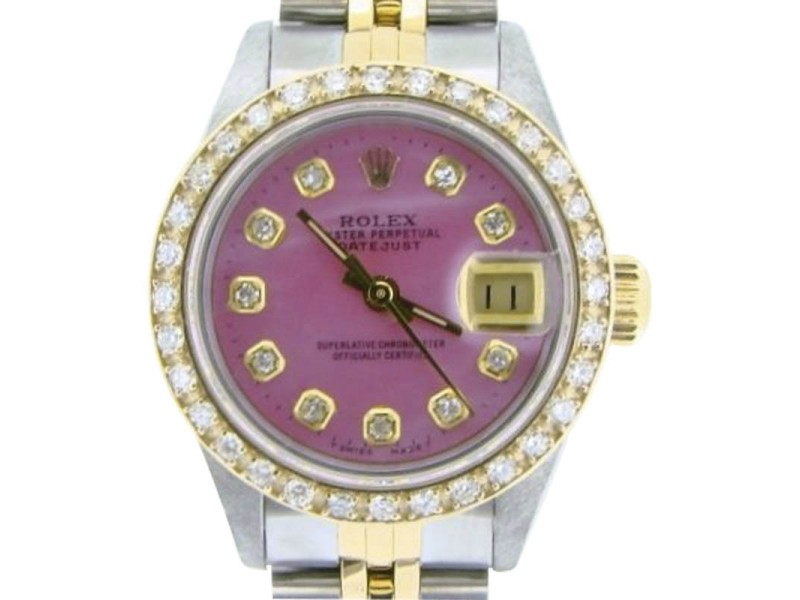 Rolex Datejust 69173 18K Yellow Gold & Stainless Steel Pink Mother Of Pearl Diamond Dial 26mm Watch