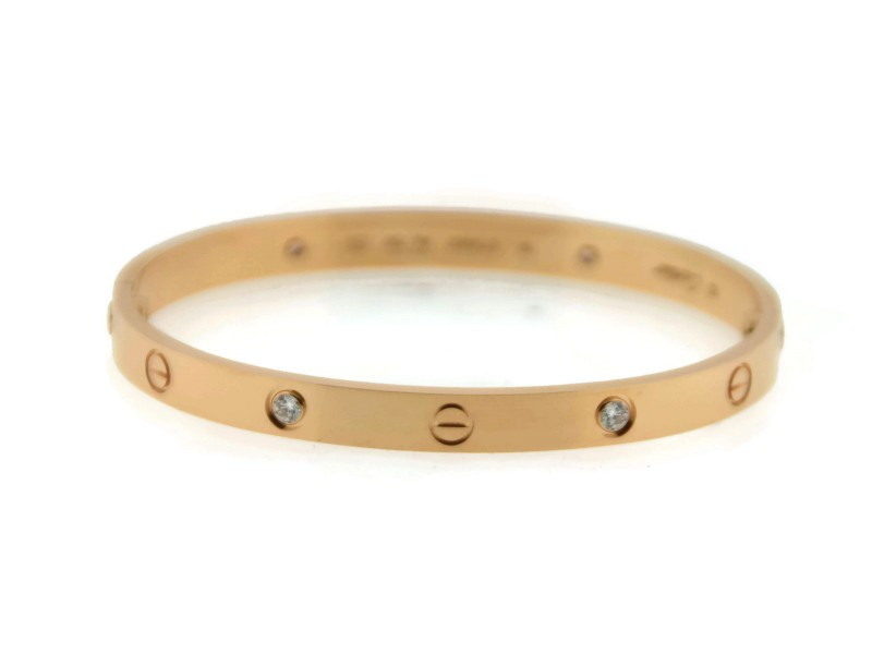 Cartier 18K Rose Gold 4 Diamond Love Bracelet Size 19