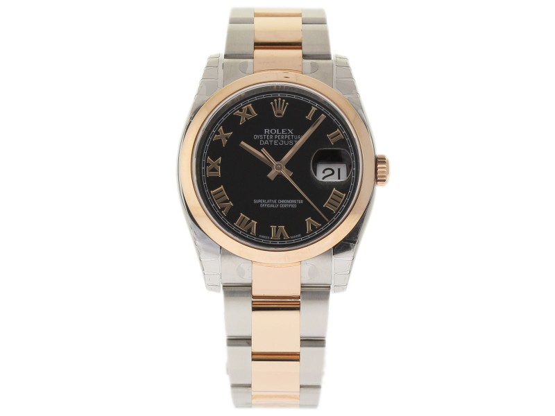 Rolex Datejust 116201 Stainless Steel & 18K Pink Gold Black Dial Automatic 36mm Unisex Watch 2017