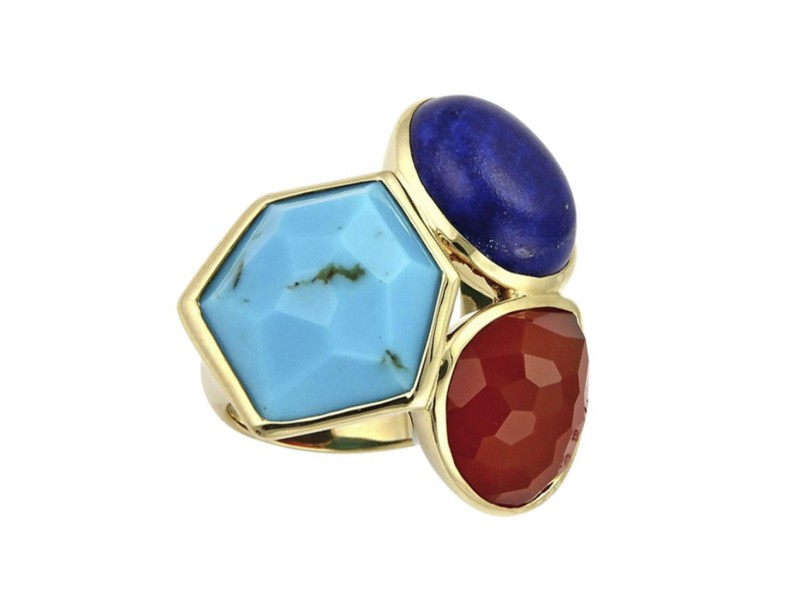 Ippolita Gelato 18K Yellow Gold Multicolor Gemstone Ring Size 7.5