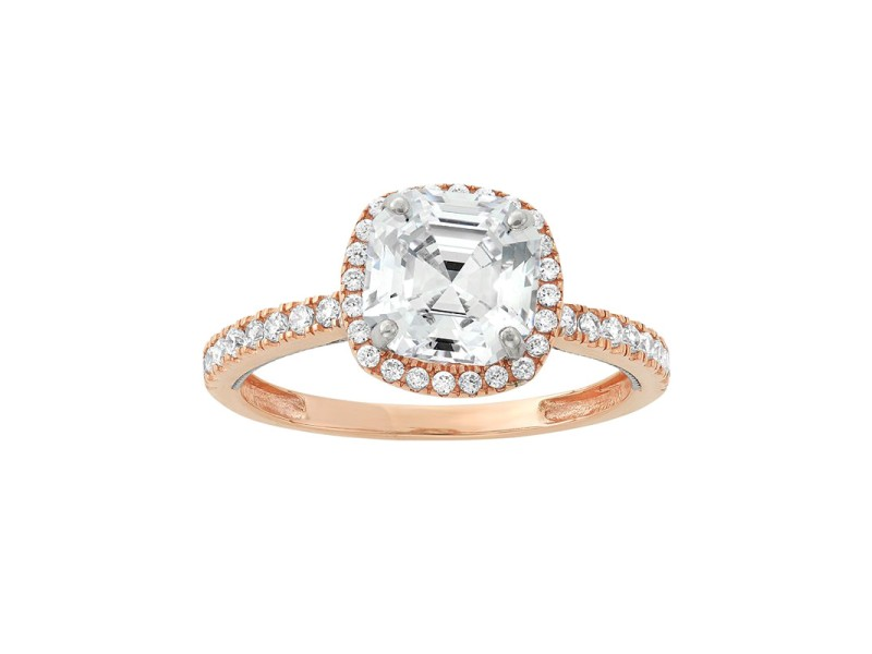 10k Two Tone Gold Cubic Zirconia Tiered Halo Ring