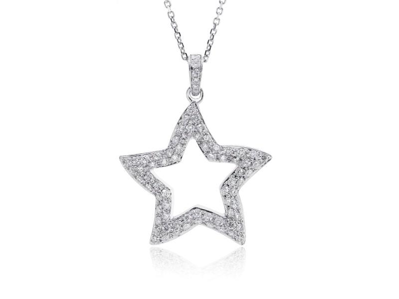 18K White Gold Star Diamond Pendant & Necklace