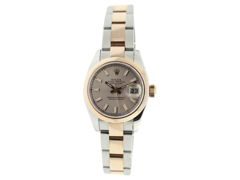 Rolex Datejust 179161 Oyster Steel/Rose GoldPink Stick Dial Smooth Bezel Womens 26mm Watch