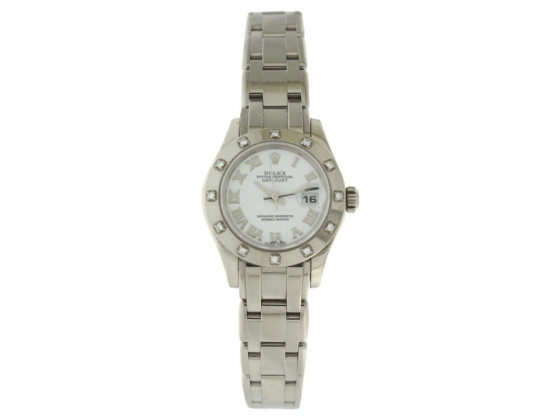 Rolex Pearlmaster 80319 White Gold Diamond White Roman Dial Womens 29mm Watch