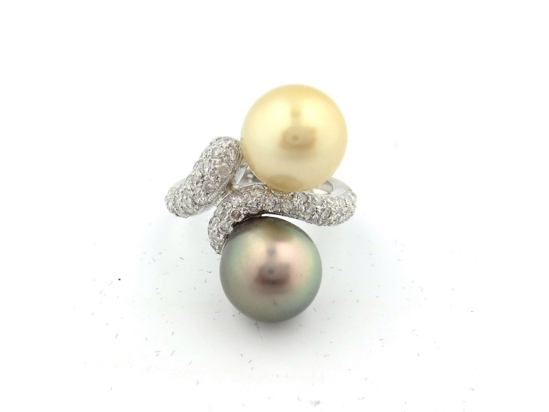 14K White Gold South Sea Pearls and 1.01 Ct Round Diamond Ring Size 6