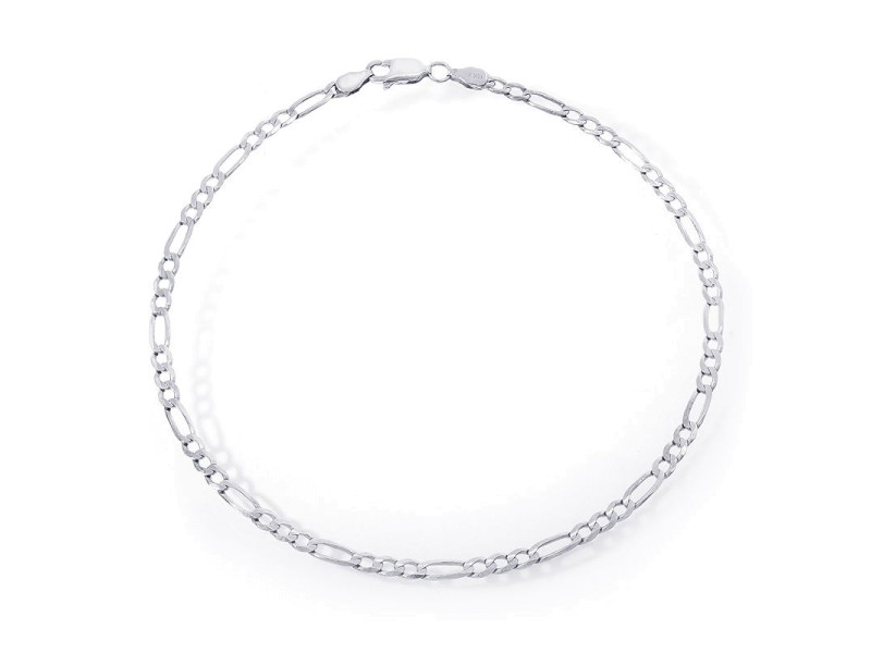 14K White Gold Classic Figaro Chain Ankle Bracelet
