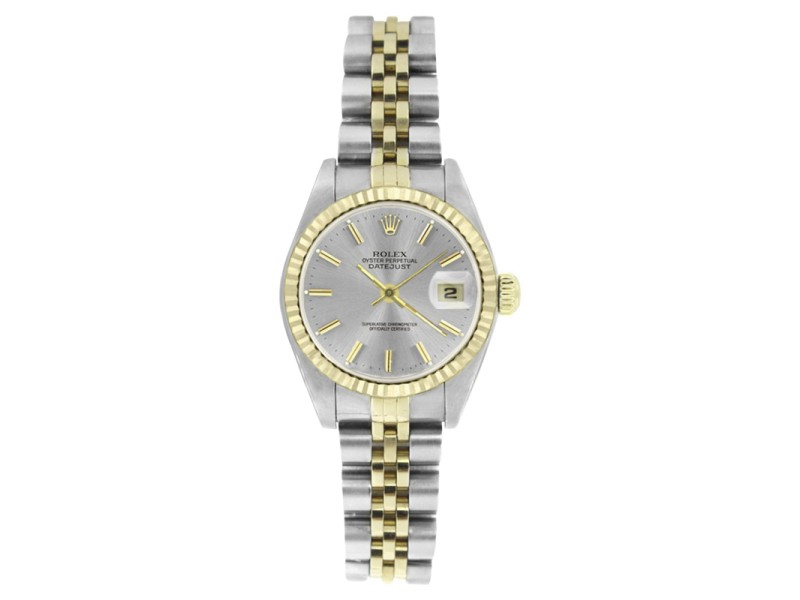 Rolex Datejust 69173 Stainless Steel & 18K Yellow Gold Silver Stick Dial 26mm Womens Watch