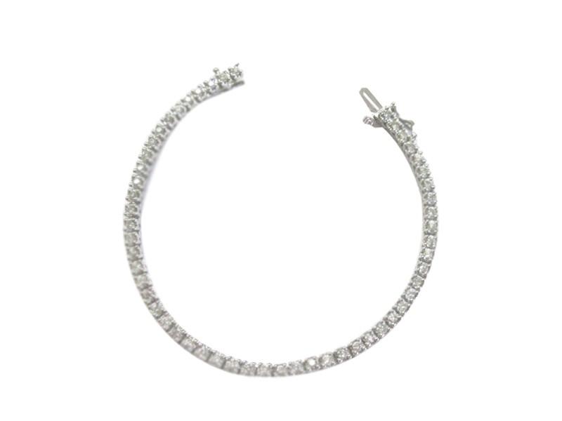 Fine Round Cut Diamond 4-Prong White Gold Tennis Bracelet