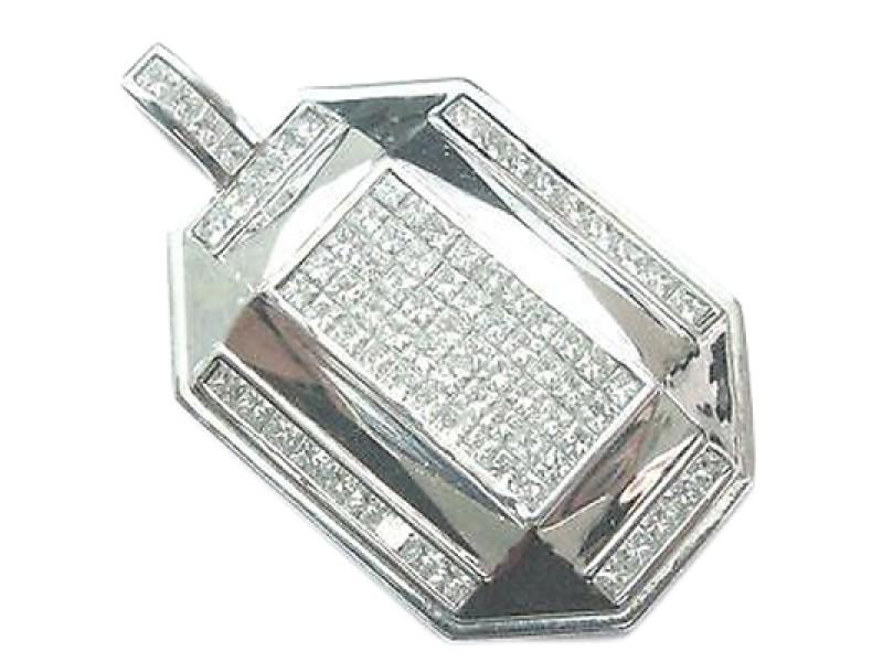 Fine Princess Cut Diamond Invisible Setting White Gold Pendant