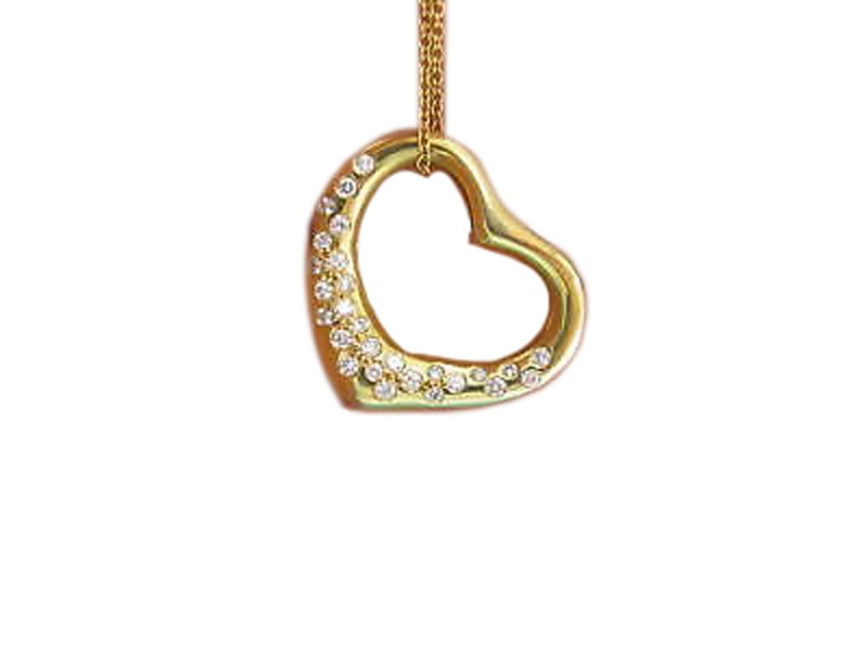 Tiffany & Co Elsa Peretti Diamond Open Heart Pendant Necklace