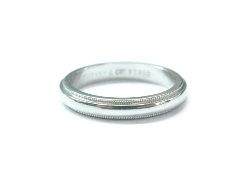 Tiffany Co Platinum Milgrain 3mm Wide Wedding Band Ring