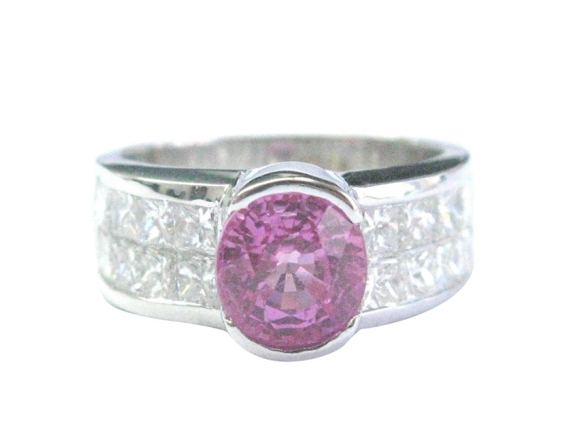 18K White Gold Pink Sapphire Diamond Jewelry Ring