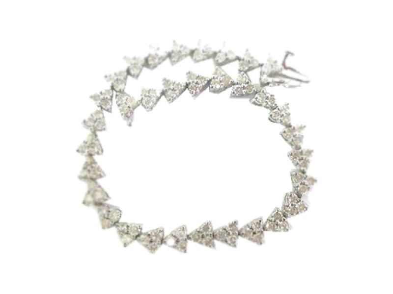 Platinum Round Cut Diamond Tennis Bracelet