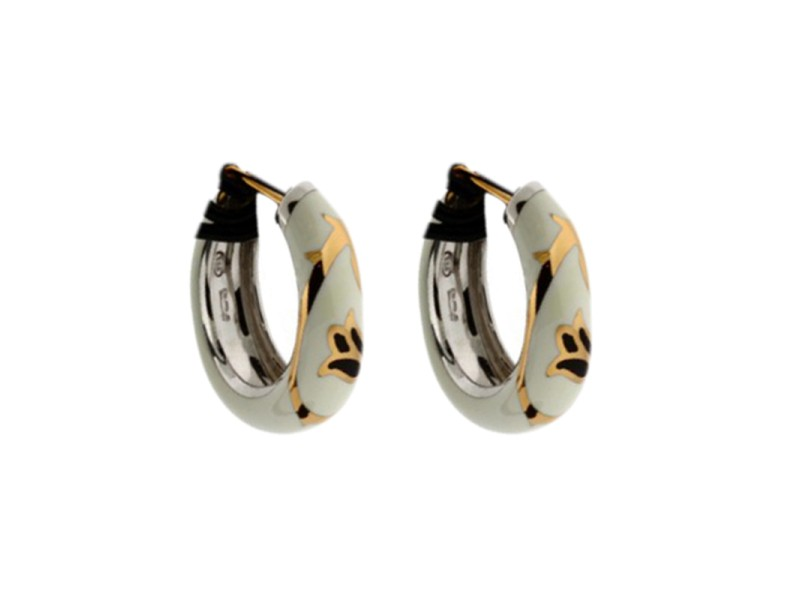 Gianni Versace 18K and Sterling Silver White Flower Earrings