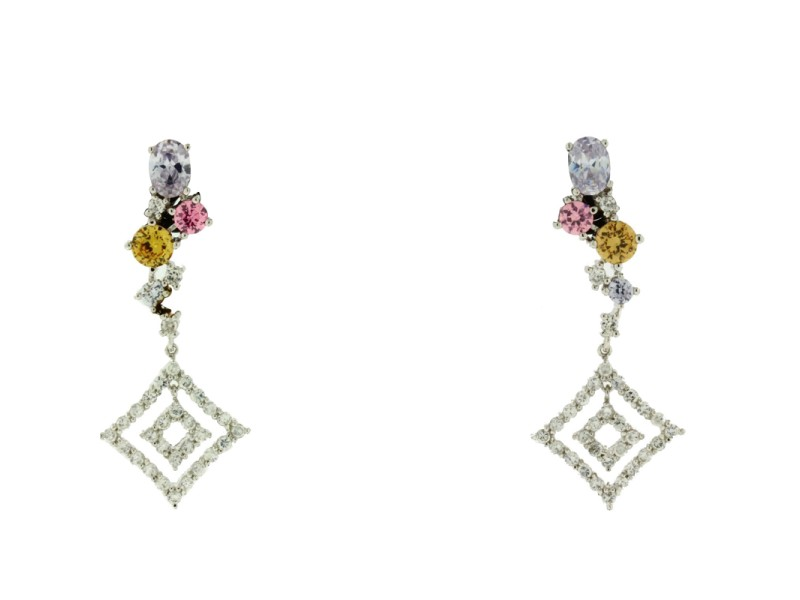 Sterling Silver Multicolor CZ Dangle Earrings