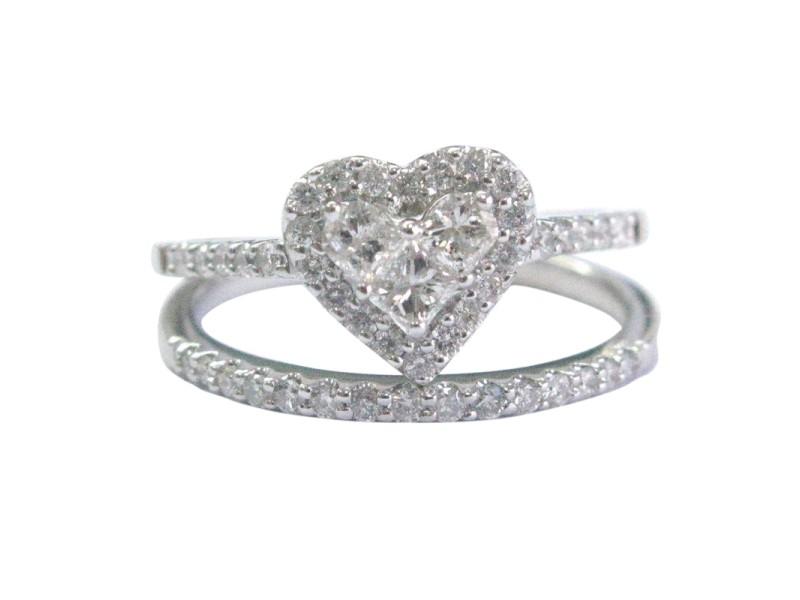 14K White Gold & Diamond Heart Shape Ring