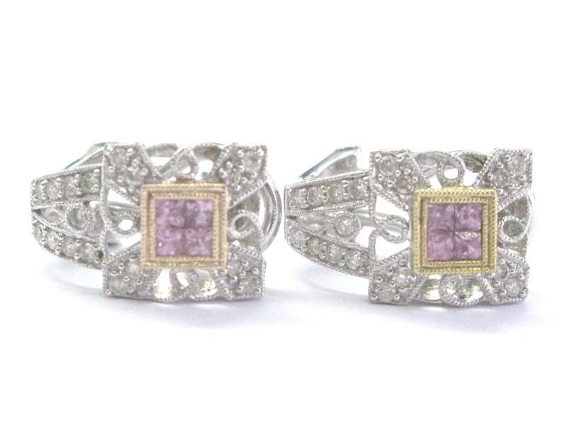 18K White Gold Diamond & Pink Sapphire Milgrain Huggie Earrings
