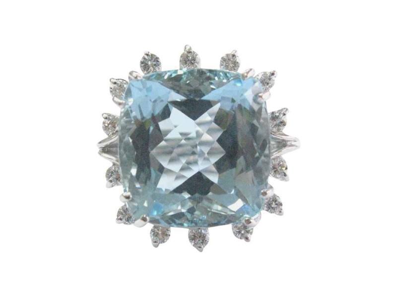 White Gold Aquamarine & Diamond Solitaire Accent Ring