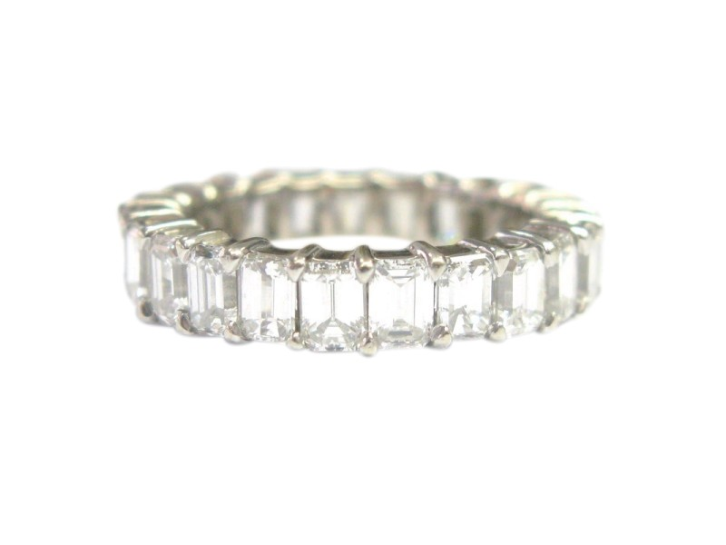 White Gold Emerald Cut Diamond Shared Prong Eternity Band Ring
