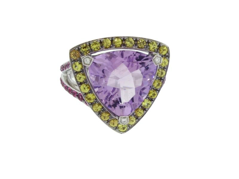 Mauboussin 18K Gold Amethyst Diamond & Pink Yellow Sapphire Ring