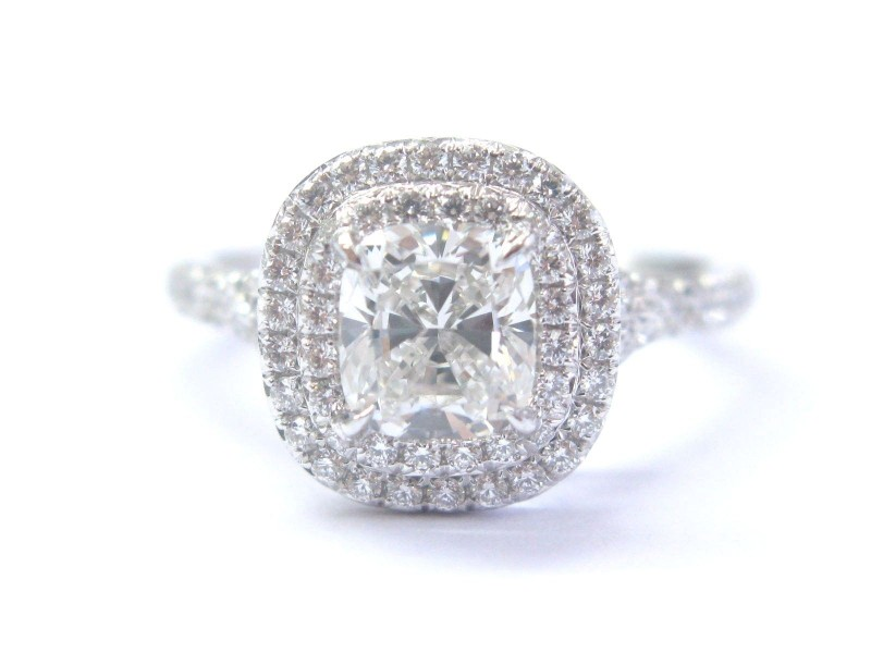 Tiffany & Co. Platinum 1.35ct Diamond Soleste Engagement Ring Sz 5.5