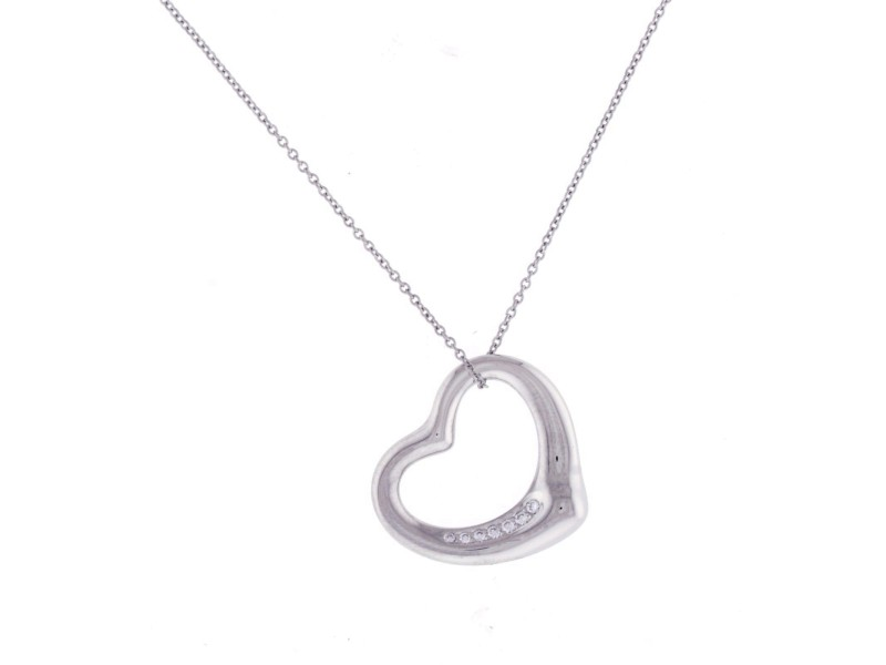 Tiffany & Co. 950 Platinum Elsa Peretti 0.30ct Diamond Heart Pendant Necklace