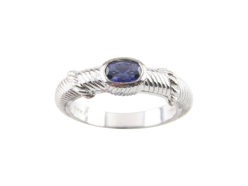 Judith Ripka Sterling Silver Amethyst Cable Stacking Ring Size 9.75