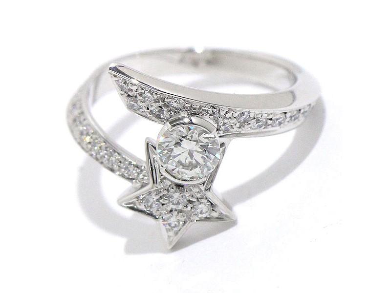 Chanel 18K White Gold Diamond Comete Ring Size 3.5 - 3.75