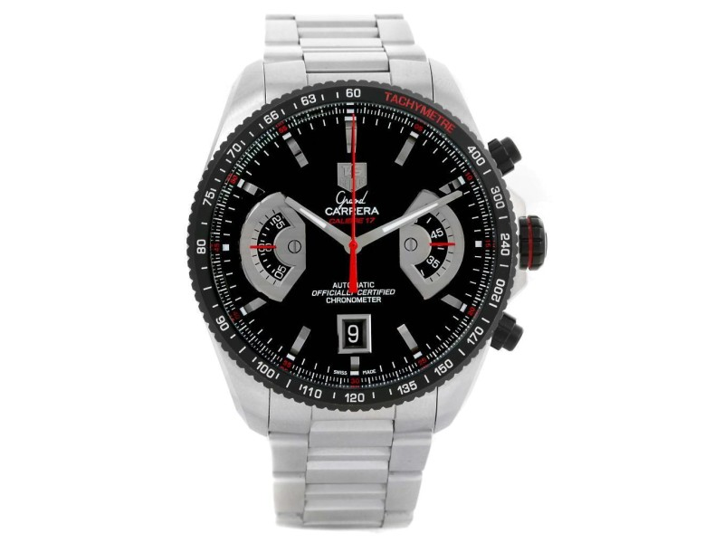 Tag Heuer Grand Carrera CAV511C Stainless Steel Black Dial 43mm Watch