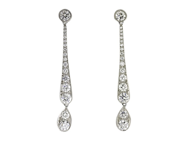 Tiffany & Co. Pt950 Platinum Jazz Drop Diamond Earrings