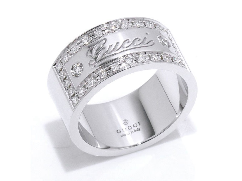 Gucci 18K White Gold and Diamond Ring Size 6.5~6.75