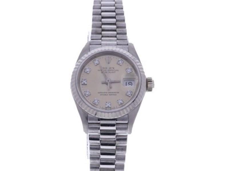 Rolex Datejust 69179 Silver Diamond Dial White Gold Womens 26mm Watch