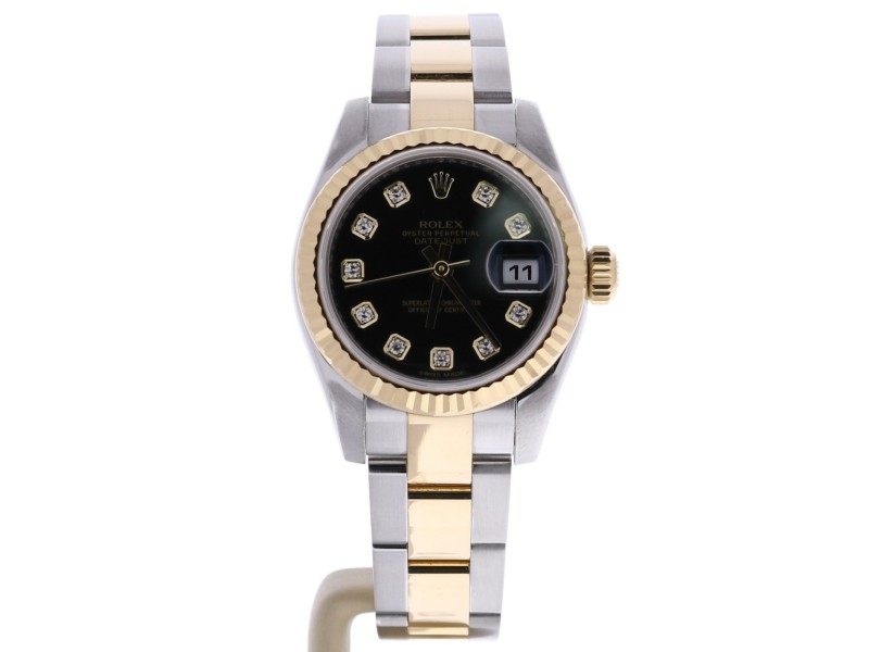 Rolex Datejust 179173BKDO Stainless Steel & Yellow Gold Black Dial Automatic 26mm Womens Watch 2015