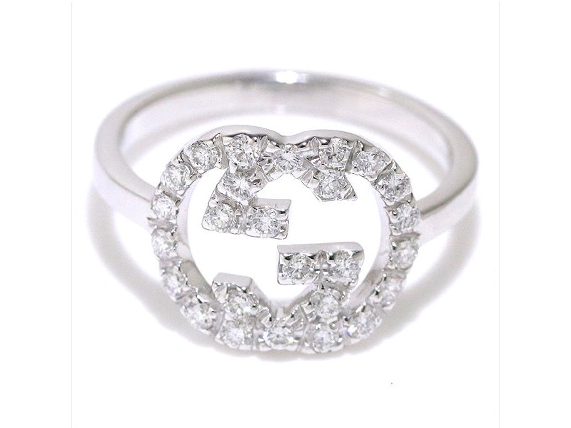 Gucci Double G Logo 18K White Gold and Diamond Ring Size 5.75