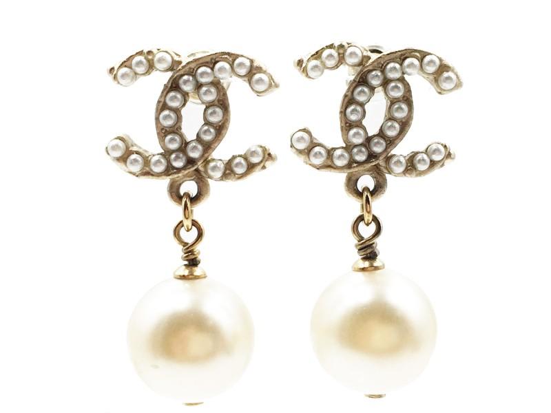 Chanel Gold-Tone Metal & Faux Pearl CC Dangle Earrings