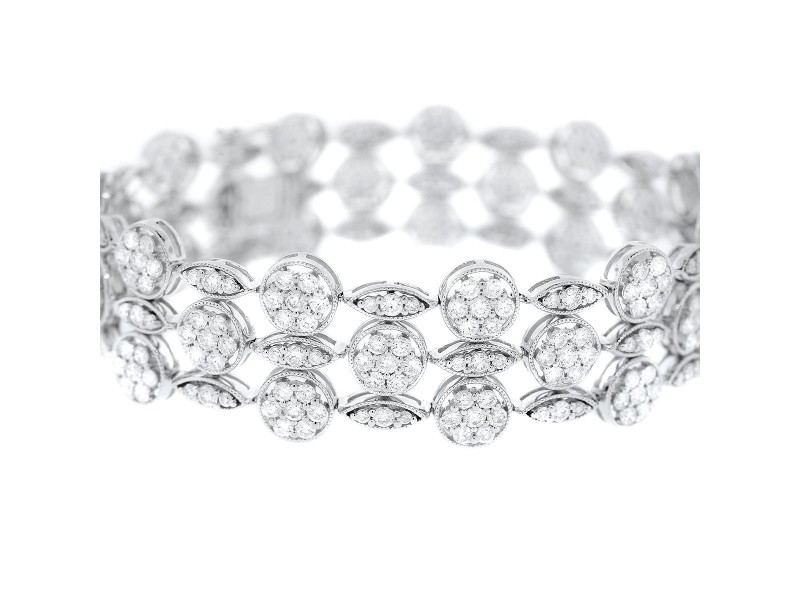 18K White Gold & Diamond 3-Strand Bracelet